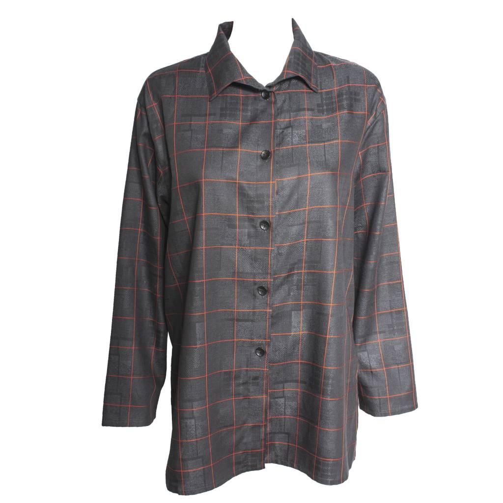Xiaoyan Xiaoyan Long Sleeve Charcaol/Red Plaid Shirt