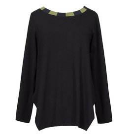Alembika Alembika Stripe Collar Top - Black/Olive