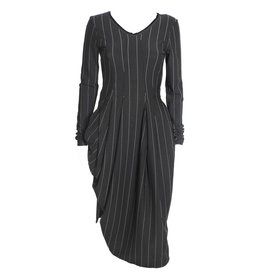 HIGH HIGH Slender Dress - Black Pinstripe