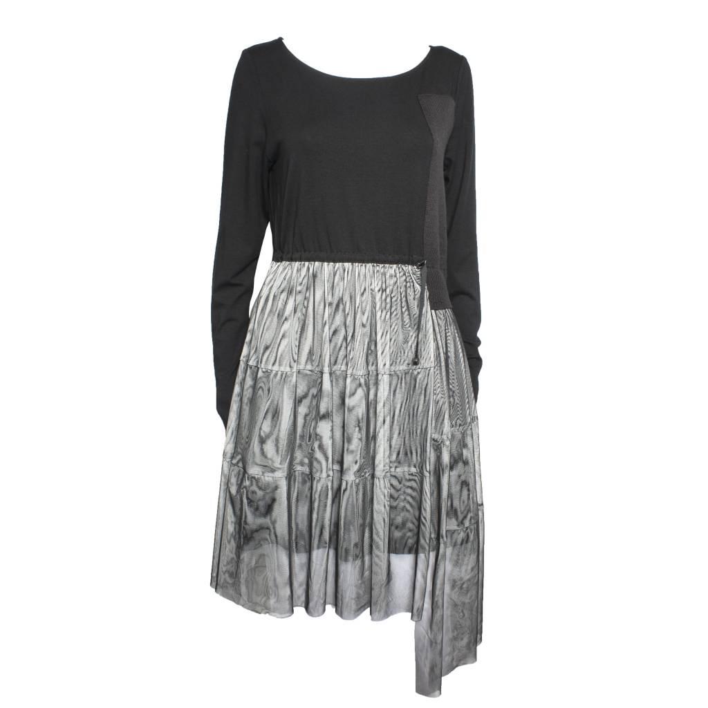 NY77 Design NY77 Design Long Sleeve Half Mesh Tunic - Black/Grey