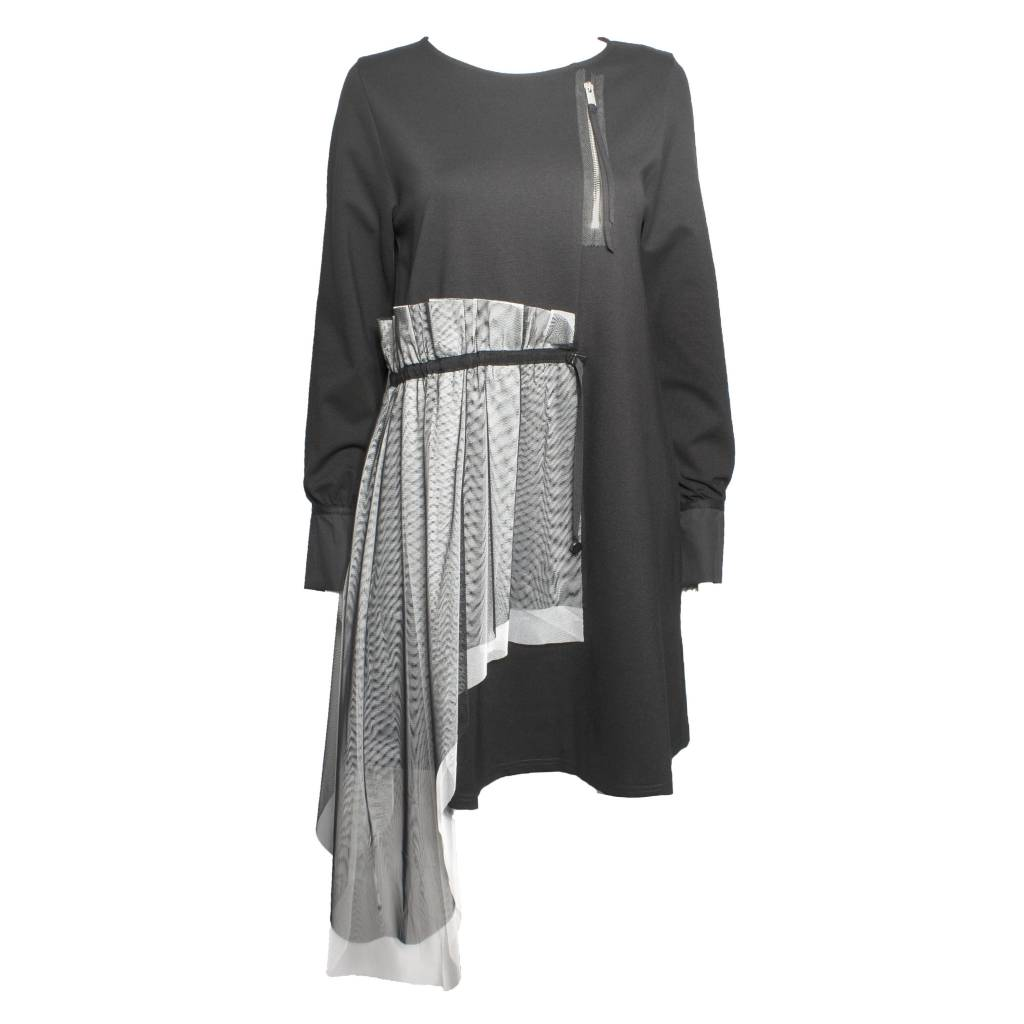 NY77 Design NY77 Design Mesh Detail Long Sleeve Tunic - Black