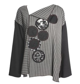 Xiao Xiao Stripped Debbie Long Sleeve Shirt - Black/Grey