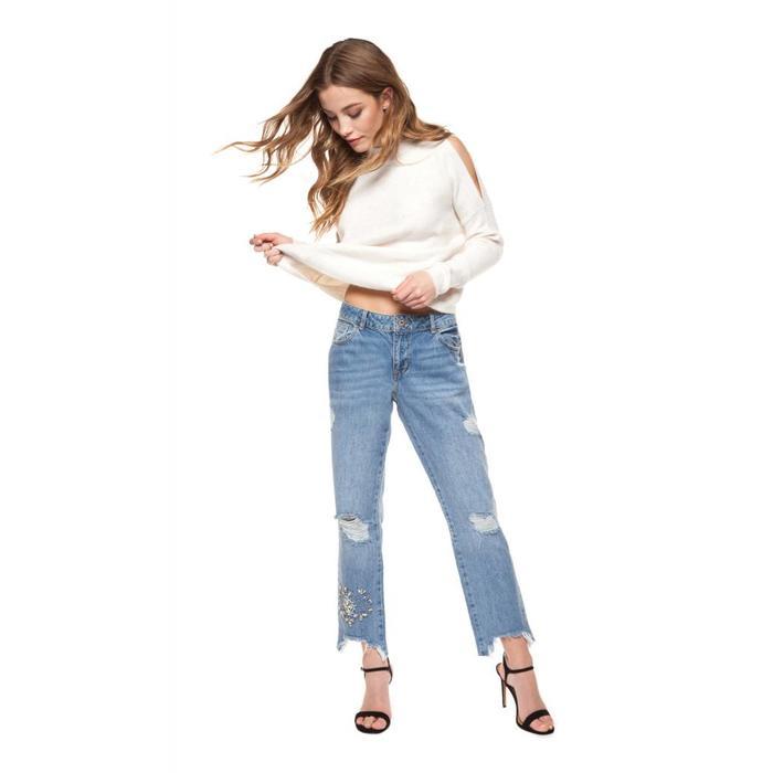 Ripped Straight Leg Jean