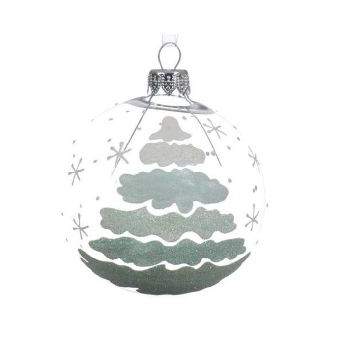 Fading Clear Glitter Tree Bauble