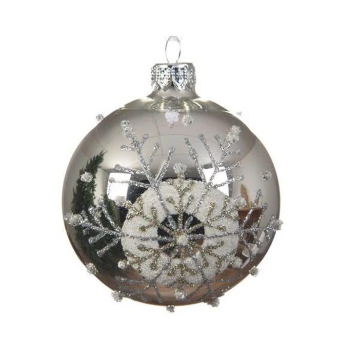 Glitter Snowflake With Dots Bauble Silver