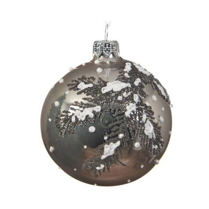 Snow Branches Bauble Natural Linen