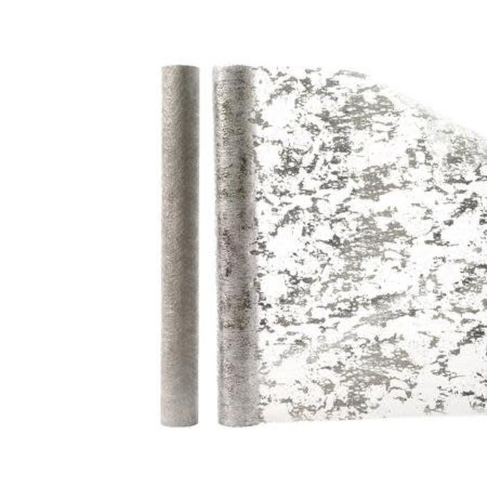 "Metallic Deco Fabric Silver 14"" x 80"""
