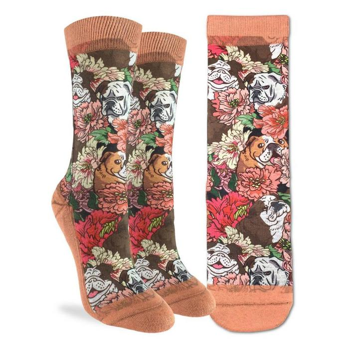 Women's Floral Bulldog Socks