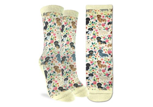 Good Luck Sock Women's Floral Dachshunds Socks