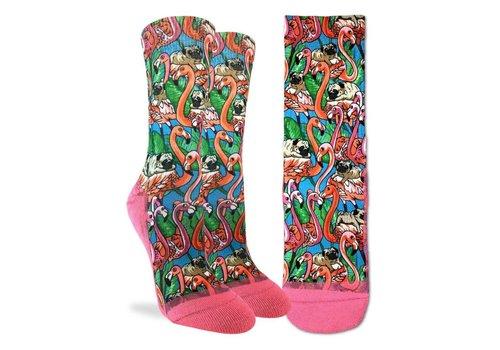 Good Luck Sock Women's Pugs and Flamingos Socks