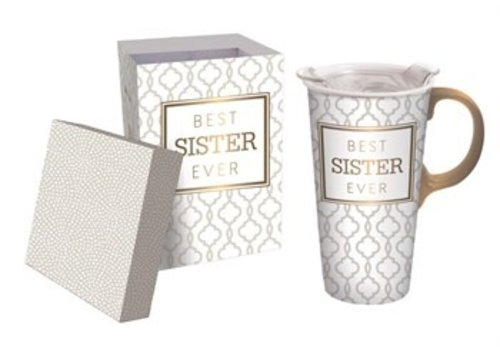 Cypress Home Best Sister Ever Ceramic Travel Cup 17oz