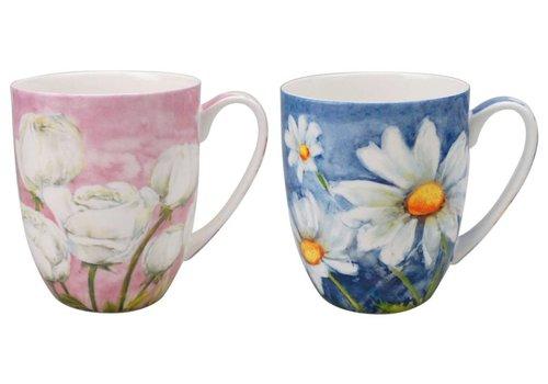 Morning Flowers Mug Pair