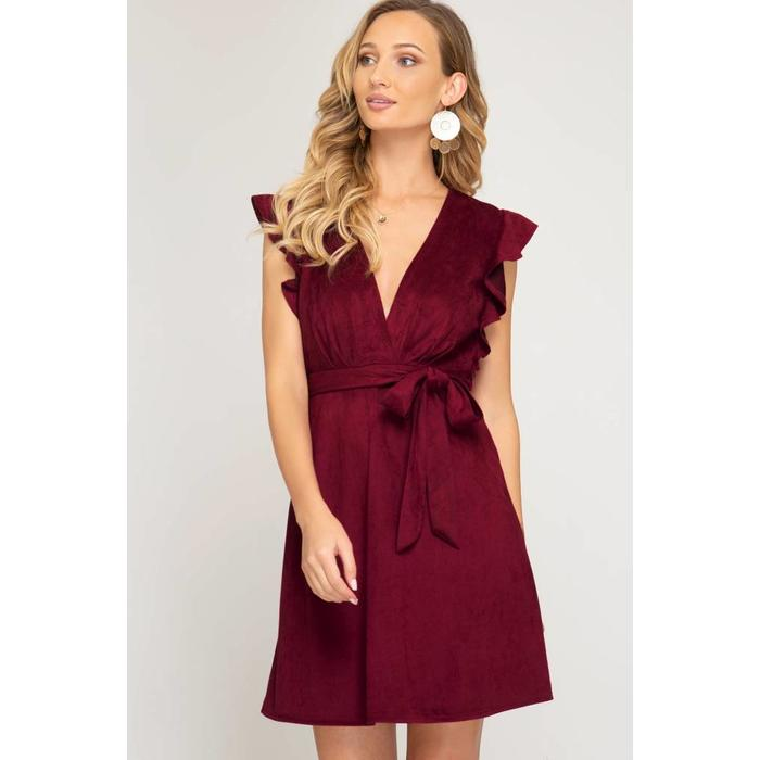 Faux Suede Woven Dress