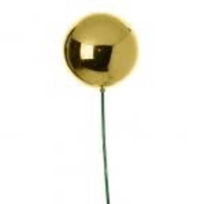 "Shiny Ball Ornament Stake Gold 23"""