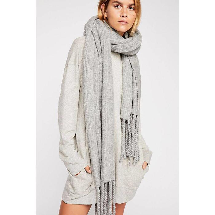 Jaden Ribbed Fringe Blanket Scarf Grey One Size