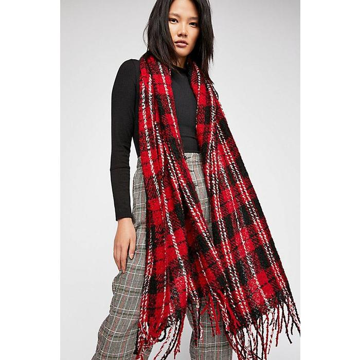 Emerson Plaid Scarf Red One Size