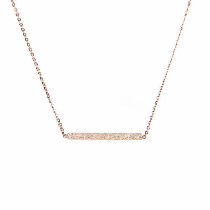 Glitter Bar Mini Metal Necklace