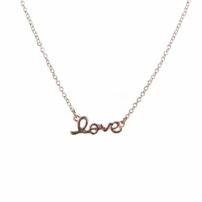 Mini Metal Necklace Love