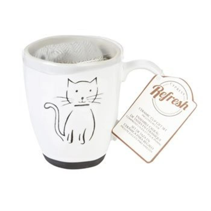 Ceramic Cup Gift Set Pet Cat 16oz