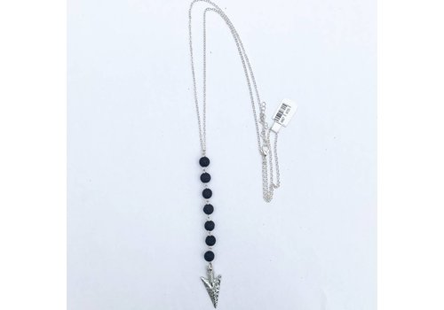 Arrow Tassel Essential Oil Necklace Black Lava
