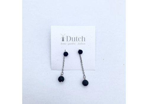 Essential Oil Dangle Earring Black Lava Stone