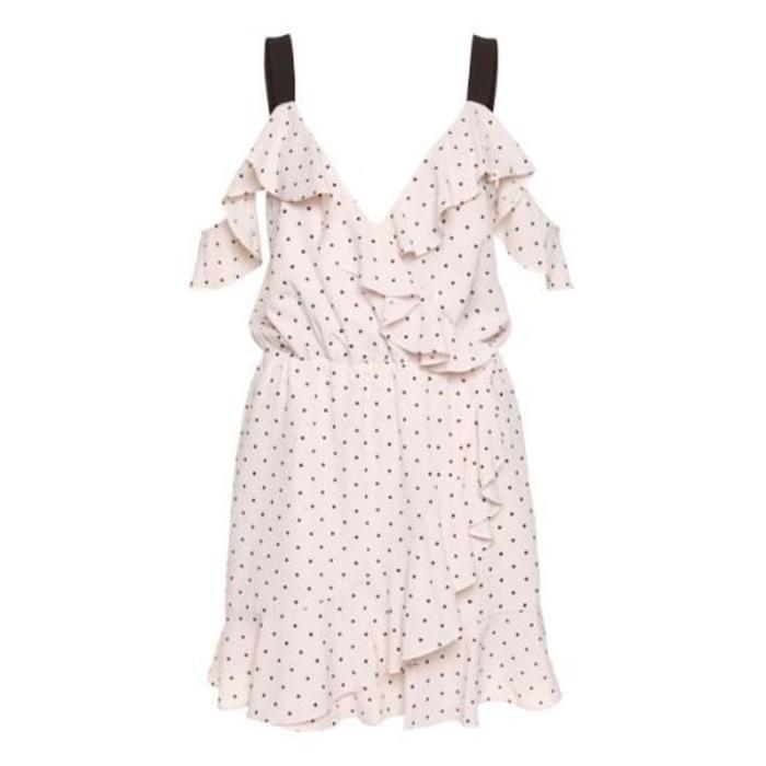 Cold Shoulder Ruffled Wrap Dress