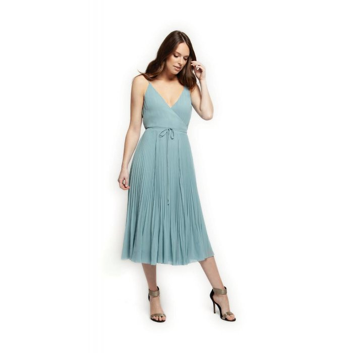 Crossover V Neck Pleated Dress