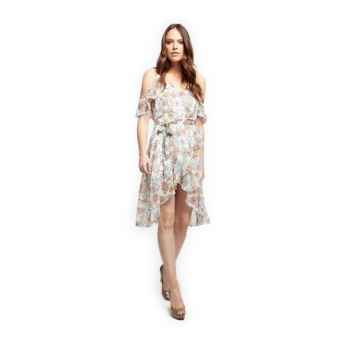 Carnation Print Asymmetric Wrap Dress