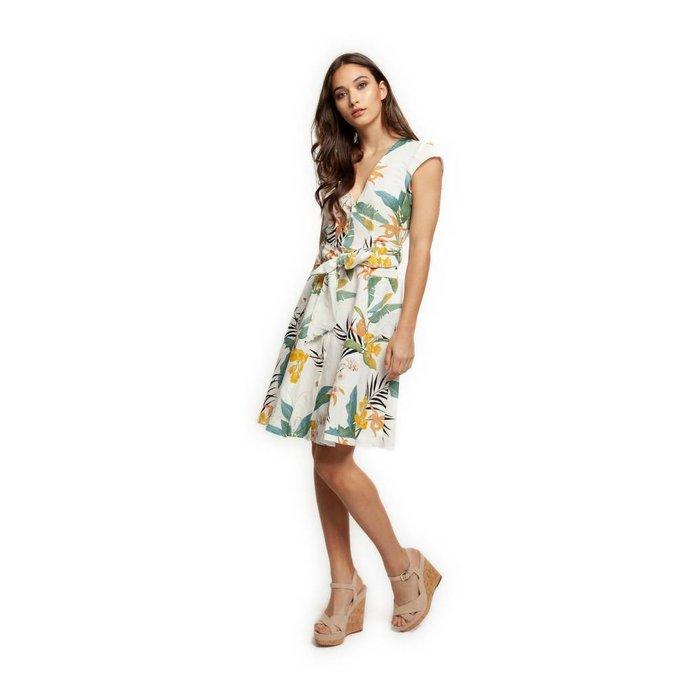 Tropical V Neck Buttoned Dress