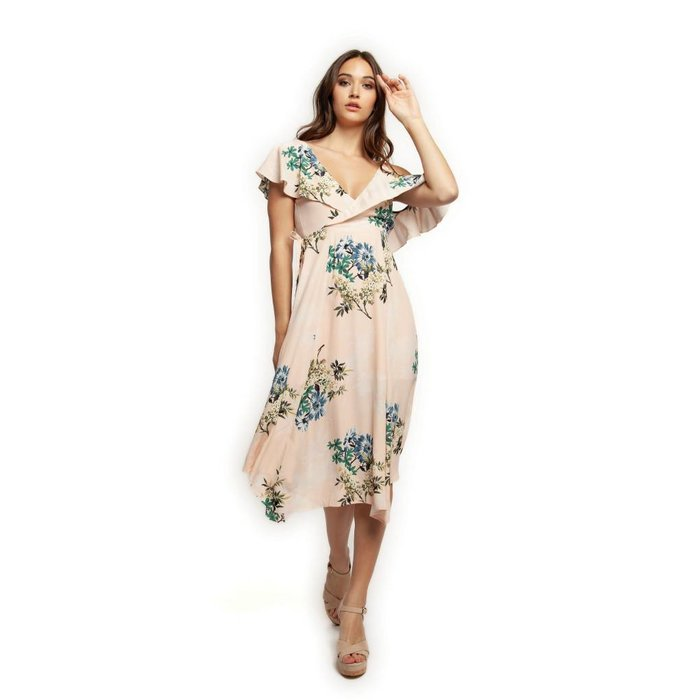 Gerbera Floral Asymmetric Wrap Dress