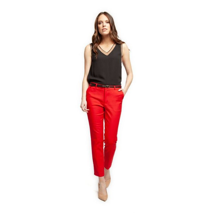 Tailored Pant With Contrast Belt