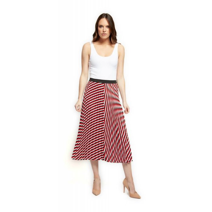 Stripe Accordion Elastic Waist Skirt