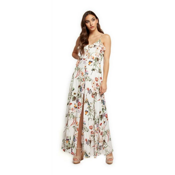 Floral V Neck Button Down Maxi Dress