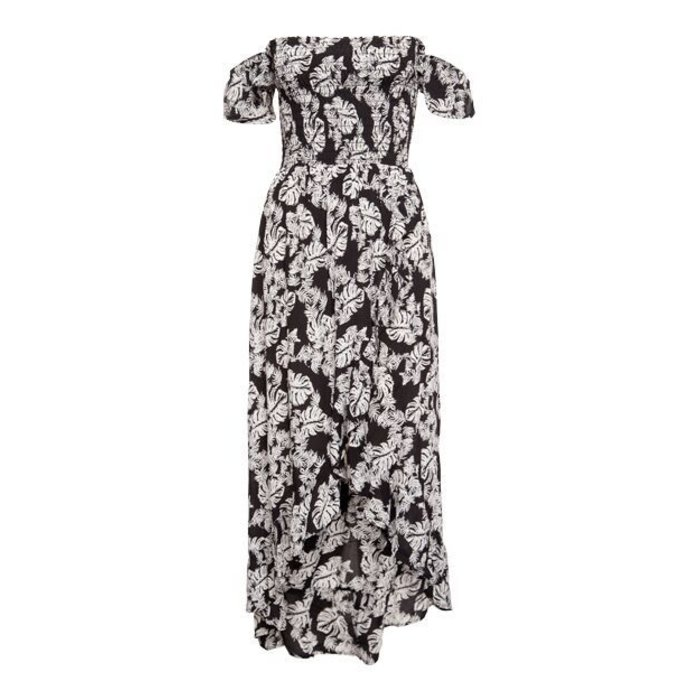 Tropical Print Off Shoulder Dress