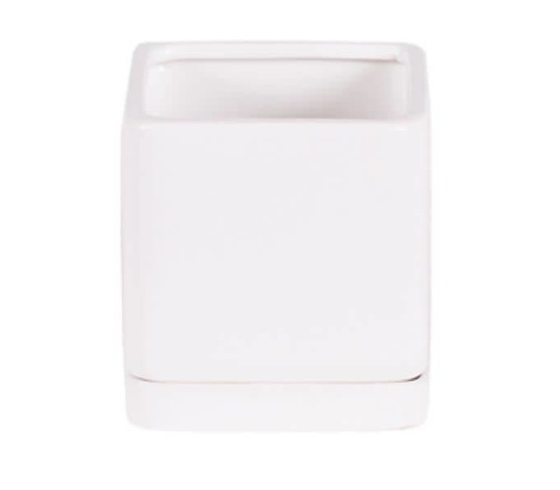 Matte Square Pot With Saucer