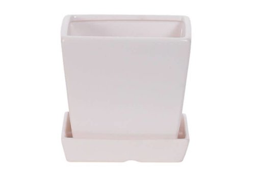 Hill's Imports Matte Zen Square Pot With Saucer