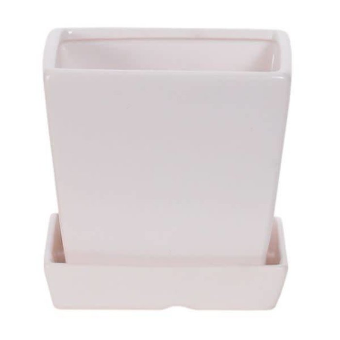 Square Matte Pot With Saucer
