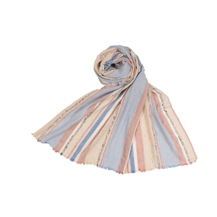 Mixed Stripe Scarf Denim Rose