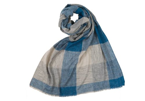 Pokoloko Large Check Scarf Blue Grey