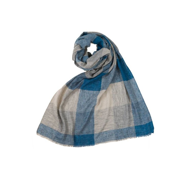 Large Check Scarf Blue Grey