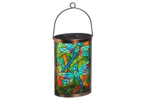 Evergreen Solar Lantern Tiffany Inspired Dragonfly