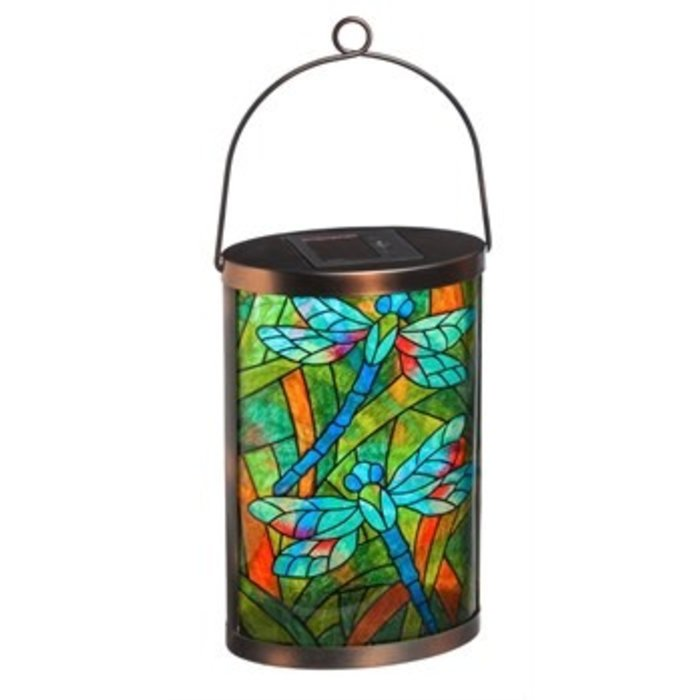 Solar Lantern Tiffany Inspired Dragonfly