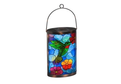 Evergreen Solar Lantern Tiffany Inspired Hummingbird