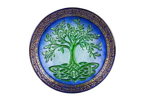 Evergreen Tree of Life Glass Birdbath 18""