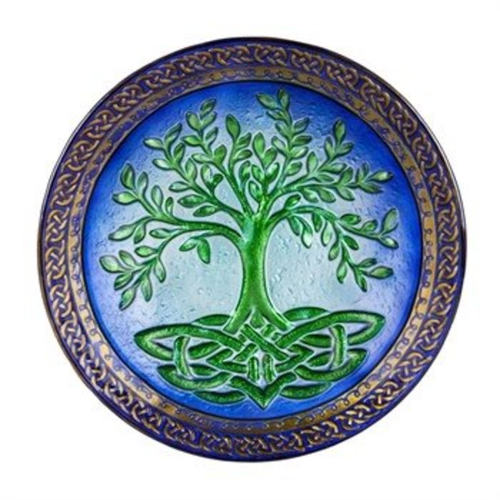 Tree of Life Glass Birdbath 18""
