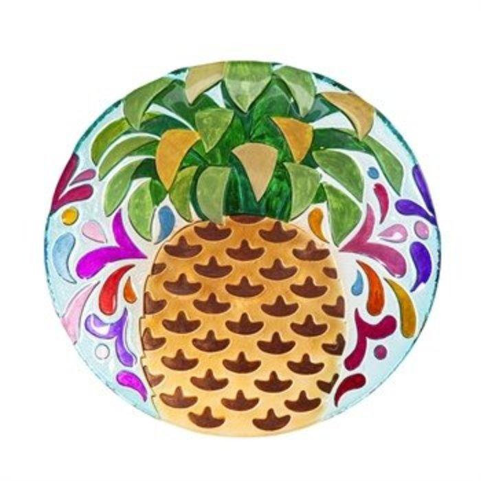 "Glass Bird Bath Pineapple 18"""