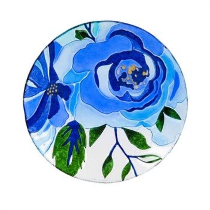 "Glass Bird Bath Blue Floral 18"""