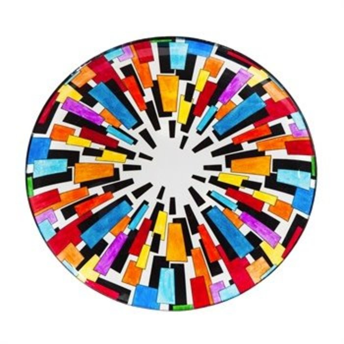 "Glass Birdbath With Stand Multicolor Crystals 16"""