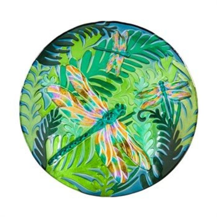 "Glass Bird Bath Iridescent Dragonfly 18"""