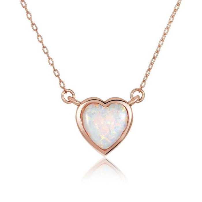 Lustig White Opal Heart Necklace